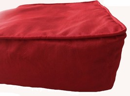"""Box Cushion Cover Solid Polyester 16x16x5"""" Red with Piping & Zipper - $17.82"""