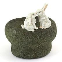 Top Collection Miniature Fairy Garden and Terrarium Bunny Rabbits Kissin... - $25.74