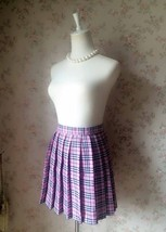 PINK Plaid Skirt Pleated Women Girl Mini Plaid Skirts Plus Size Pink Skirt image 3