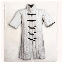 Medieval White Turtleneck Short Sleeve Padded Canvas Gambeson Tunic Batt... - $117.95