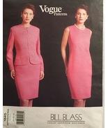 Vogue 1845 Bill Blass Misses' Jacket & Fitted, Jewel Neck Dress Size 14-18 UC/FF - $15.00