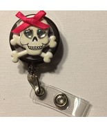 Skull & Cross Bone badge reel key card ID holder lanyard retractable scr... - $7.99