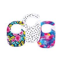 Tiny Twinkle Feeder Bib 3 Pack - Painted Peony Girl Set - Absorbent and Waterpro