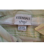 Womens Blouse 18/20W Essentials Green/Gold/Brown/White Striped TF144/ALS - $9.93