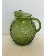 "Vintage Anchor Hocking Green Glass Lido Milano Ball Pitcher 9 1/4"" - $25.00"