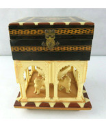 Vintage Marquetry Wood Music Box Israel David Cross Lions Fountain PATEN... - $120.00