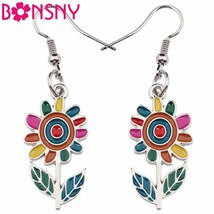 Fashion Big Long Enamel Alloy Sunflower helianthus Dangle Drop Earrings ... - $11.34