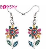 Fashion Big Long Enamel Alloy Sunflower helianthus Dangle Drop Earrings ... - $11.34