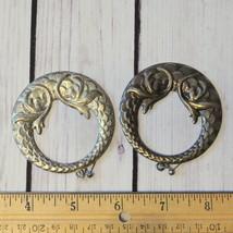 vintage large silver tone hoop earrings oversize round ornate - $5.93