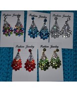 Drop Earrings CZ silvertone Red Green Clear Multi Color Blue Gourgous US... - $18.50