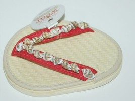 Carrie And Company 2 Coaster Set Drink Wear Red Tan Shells Sandal image 2