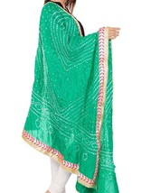 Tie and Dye Stole, Bandhej/Bandhani Dupatta on faux Silk, Embellished St... - €19,40 EUR