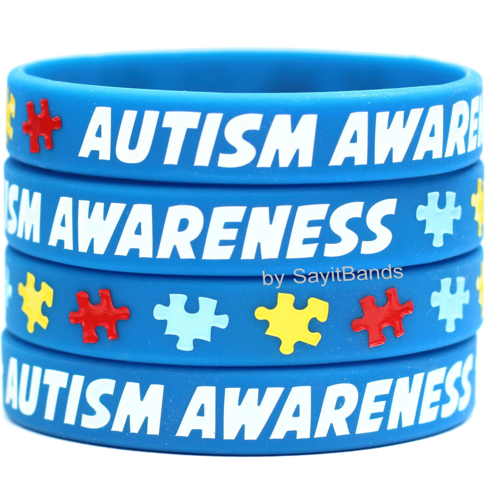 Primary image for 10 Autism Awareness Wristbands - Autistic Support - Child & Adult Size Bracelets