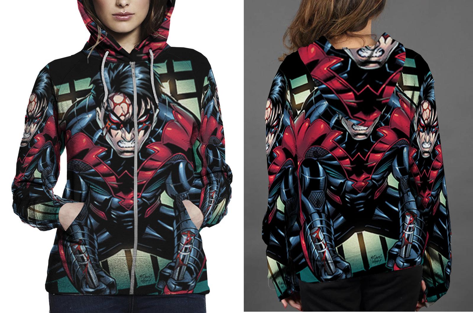 Nightwing in action zipper hoodie women s