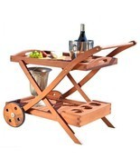 Outdoor Wooden Serving Cart Rubber Wheels Garden Table Patio Trays Platter - £72.64 GBP