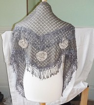 COOL *RETRO GREY BROWN TWEED LACE ROSSETTES SHOULDER SHAWL SHRUG HIPPY V... - $11.89