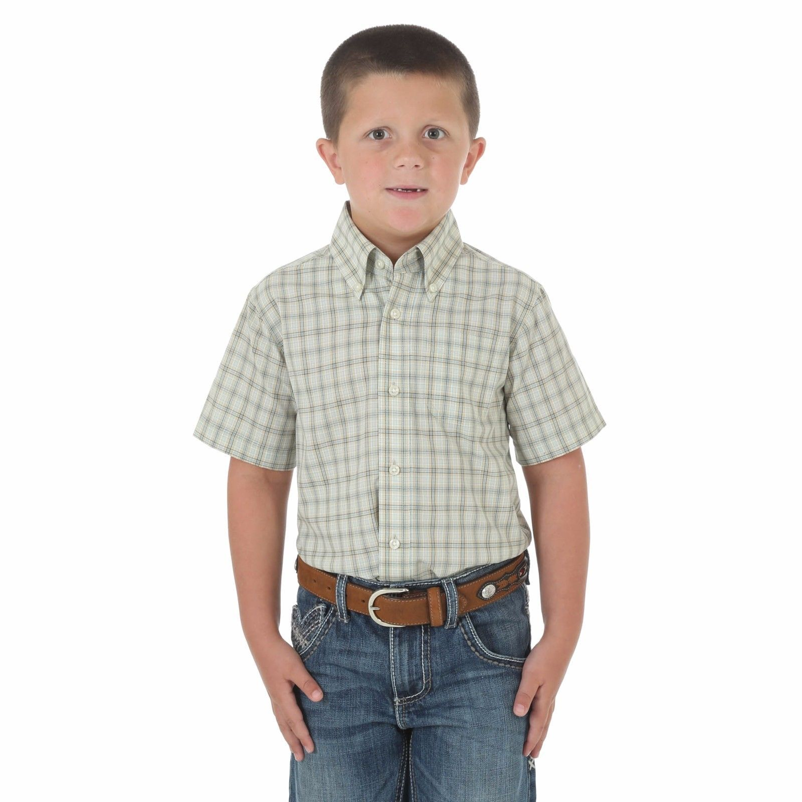 Boy 39 s wrangler checked short sleeve button down shirt for Boys short sleeve t shirts