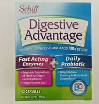 Schiff Digestive Advantage Fast Acting Enzymes and  Daily Probiotic 32 Capsules - $12.99