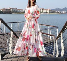 Long Sleeve Plus Size Floral Chiffon Dress Lady Maxi Long Chiffon Flower Dress   image 1