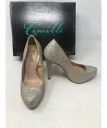 Camille La Vie Gold Sparkle Stilettos High Heels Pumps Sz 5.5 EUC - $22.24