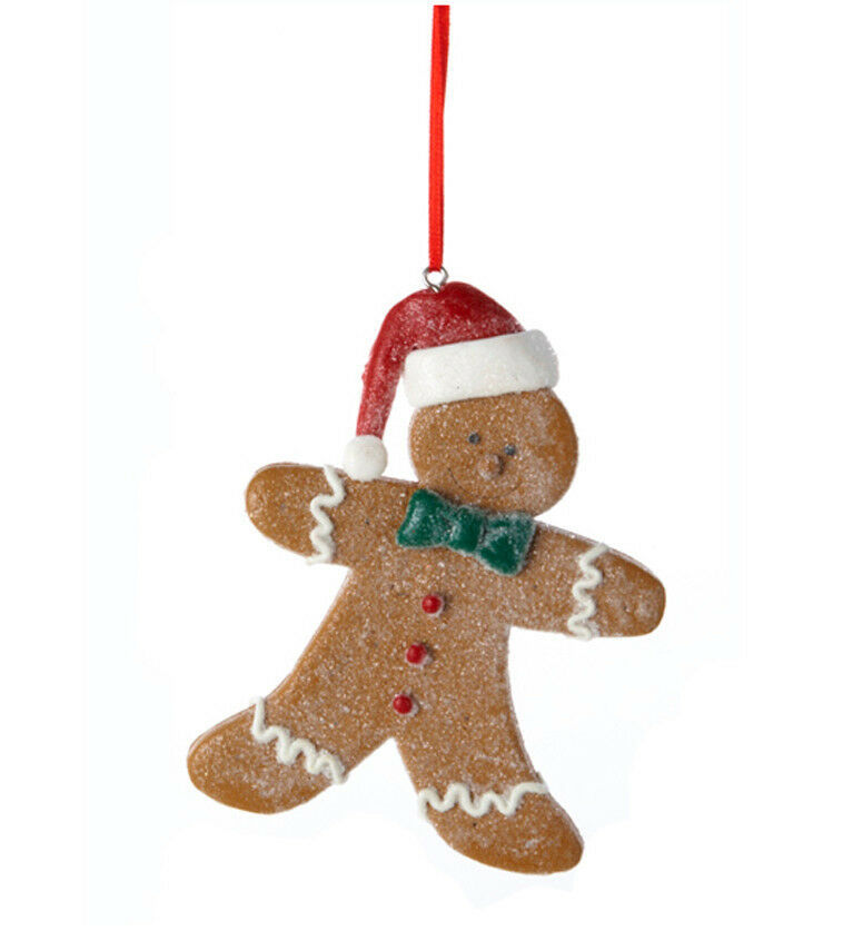 Primary image for KURT S. ADLER SET OF 2 LOT CLAYDOUGH GINGERBREAD BOY CHRISTMAS TREE ORNAMENTS