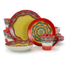 Elama Zen Red Mozaik 16 Piece Luxurious Stoneware Dinnerware with Comple... - $83.76