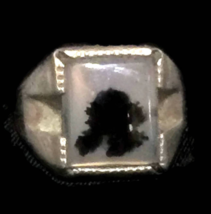 Vintage Agate Sterling Silver Ring Size 5.5  Boys or Pinky or Women or Unisex - $85.00