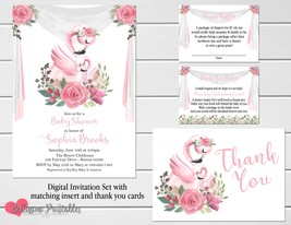 Flamingo Baby Shower invitation with Thank you, Diaper Raffle, Books for... - $19.95