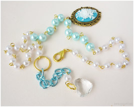Rose Cameo Necklace, White and Teal Beaded Pearl Chain in Gold - Sweet Lolita image 4