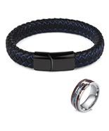 Jiayiqi Men Bracelet Ring Set Leather Bangle Stainless Steel Ring Male J... - $16.49