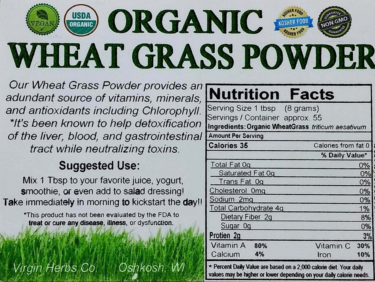 1Lb 1-pound PURE USDA Organic Wheatgrass POWDER BULK Wheat Grass ((2200 SOLD!!))