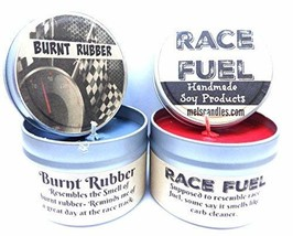 Combo - 4oz Burnt Rubber & 4oz Race Fuel Soy Candle Tins - Great Gift fo... - $16.65