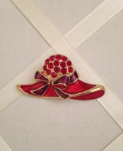 Vintage Red Hat Bow Enamel Red Crystal Rhinestone Fashion Brooch - $35.00