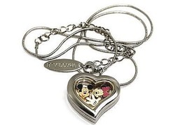 Bracciale Disney Heart Locket Mickey Minnie Mouse Silver Necklace Floating Charm - $24.74