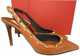 Valentino Rockstud Brown Leather 85 Slingback Pumps Heels Shoes Sandals 39 - £406.46 GBP