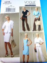 Vogue 8718 Misses' Jacket Top Dress Skirt Pants sizes 6 8 10 12 Uncut Fo... - $5.93