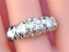 VINTAGE 1.45ctw TRANSITIONAL DIAMOND PLATINUM ANNIVERSARY 5-STONE RING 1... - $2,470.05