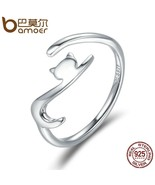 BAMOER 925 Polished Adjustable Sterling Silver Cute Long-Tail Cat Theme ... - $14.45