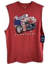 Ride USA Motorcycle American Faded Glory Sleeveless T-Shirt Size M New - $12.86
