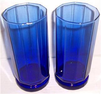Vintage (2) Large Anchor Hocking Pressed Designed Cobalt Blue Color Glasses Tumb
