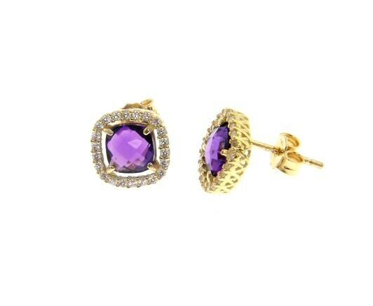 18K YELLOW GOLD EARRINGS CUSHION SQUARE PURPLE AMETHYST AND CUBIC ZIRCONIA FRAME
