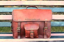 "Indian Vintage Leather Scholar Laptop Briefcase Messenger Bag Unisex 15"" - $55.07"