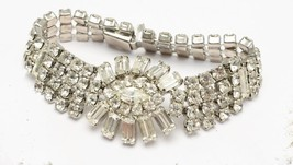 Vintage Weiss Flower Marquis and Round Cut Clear Rhinestone  Bracelet Si... - $68.27