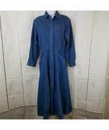 Vintage Avon Fashions Modest Dress S Denim Blue Long Button Front Western Yoke - $31.51