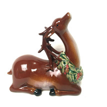 Vintage Ceramic Christmas Reindeer With Wreath From 1980's - $47.52