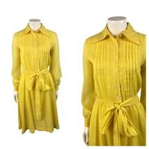 1960s Yellow Shirt Dress / Button Up Sunshine Belted Tie Dress Long Slee... - $65.00