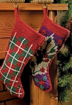 X661 Crochet PATTERN ONLY Tartan or Oriental Style Christmas Stocking Patterns - $7.50
