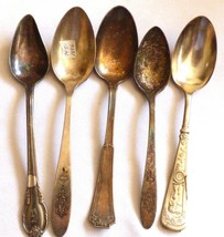 VTG Antique Mixed pattern Lot 5 Silver plate tea spoons Rogers Community - $23.76