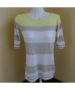 Old Navy Women's Yellow White Striped 3/4 Sleeve Top Shirt size Extra Small - $10.50