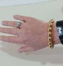 18K YELLOW GOLD BRACELET, SEMIRIGID, ELASTIC, BIG 10 MM SMOOTH BALLS SPHERES image 5